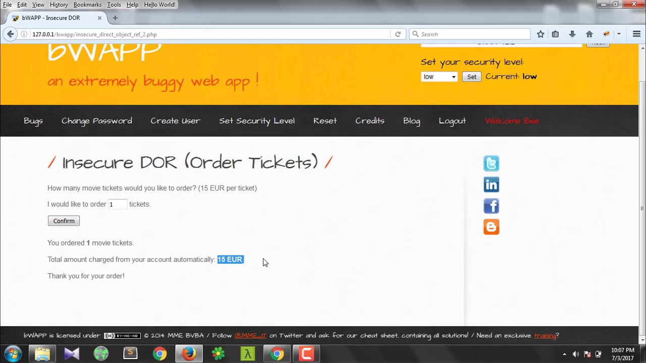 Insecure DOR (Order Tickets) – bwapp Tamil Hacking Tutorials | Video