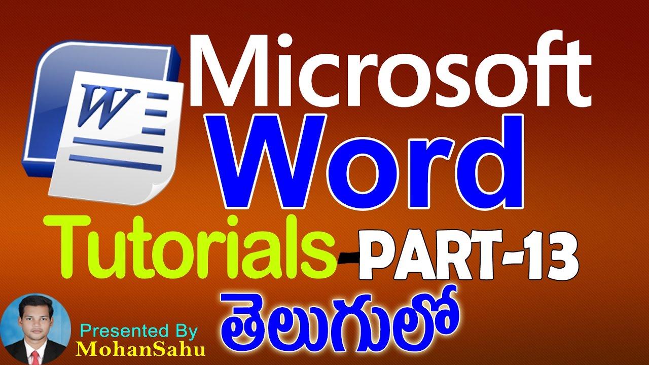 Ms Word Tutorials in Telugu Part – 13 || LEARN COMPUTER TELUGU VIDEOS | Video